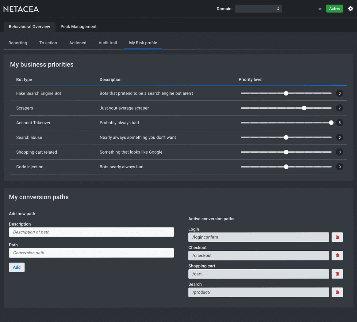 Netacea Risk Dashboard Profile - Retailer Credential Stuffing